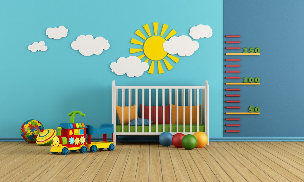 Child room with baby crib and toys - rendering